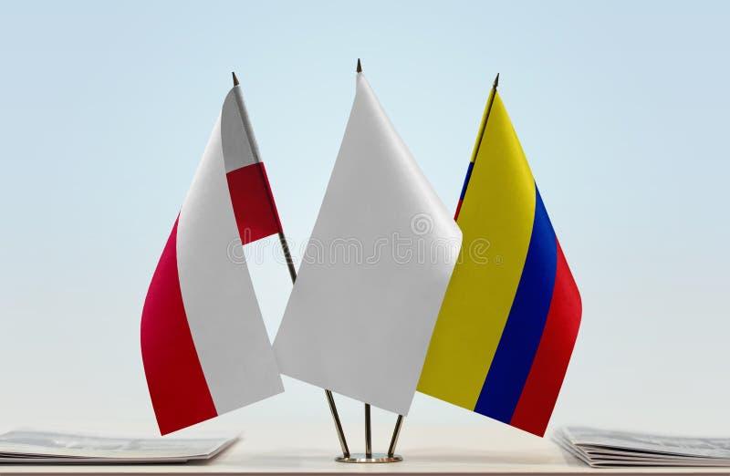 Flaga Polska i Kolumbia fotografia royalty free