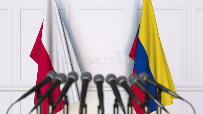 Flaga Polska i Kolumbia przy międzynarodowym spotkaniem lub konferencją świadczenia 3 d zdjęcie stock