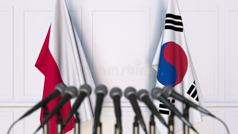 Flaga Polska i Korea przy międzynarodowym spotkaniem lub konferencją świadczenia 3 d zdjęcia royalty free