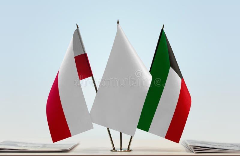 Flaga Polska i Kuwejt zdjęcie royalty free