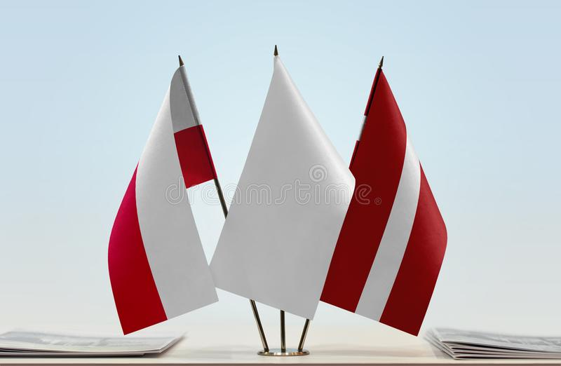 Flaga Polska i Latvia zdjęcia stock