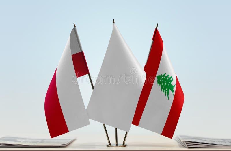 Flaga Polska i Liban obraz stock