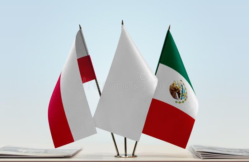 Flaga Polska i Meksyk zdjęcie stock