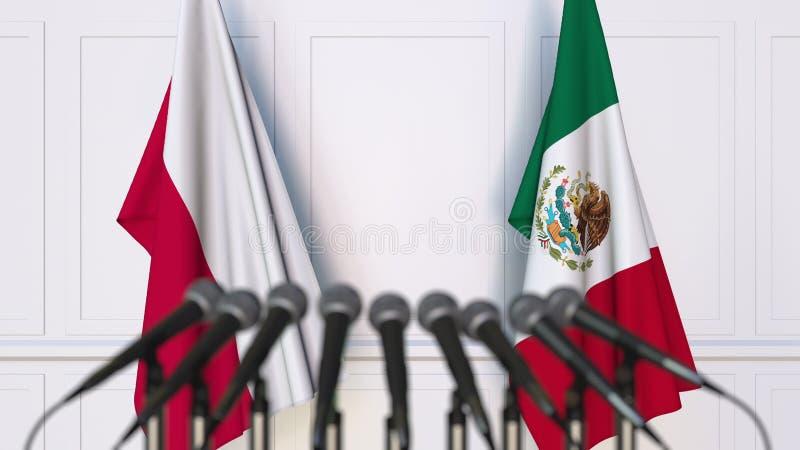 Flaga Polska i Meksyk przy międzynarodowym spotkaniem lub konferencją świadczenia 3 d zdjęcia stock