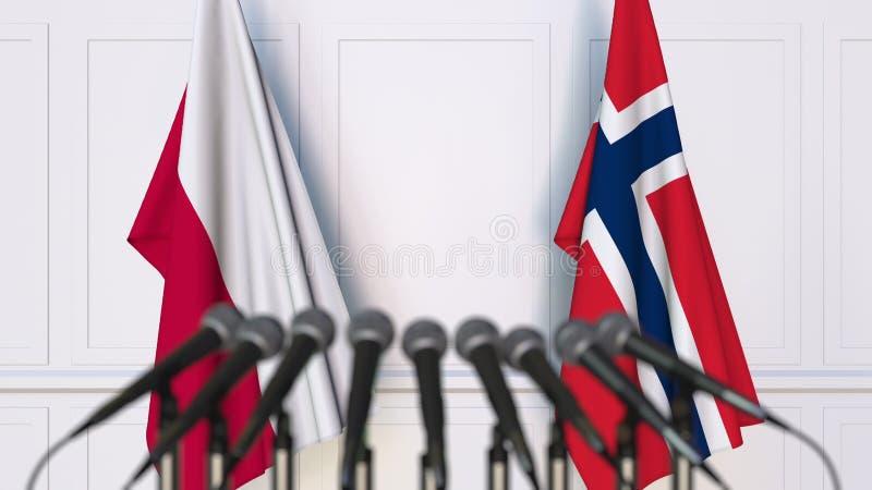 Flaga Polska i Norwegia przy międzynarodowym spotkaniem lub konferencją świadczenia 3 d obraz royalty free