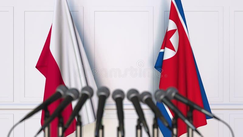 Flaga Polska i Północny Korea przy międzynarodowym spotkaniem lub konferencją świadczenia 3 d obrazy stock