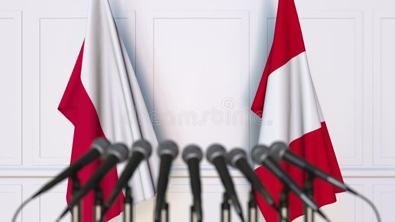 Flaga Polska i Peru przy międzynarodowym spotkaniem lub konferencją świadczenia 3 d fotografia royalty free