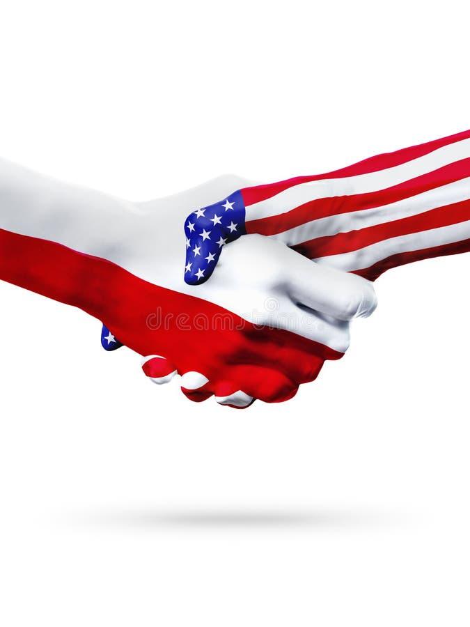 Flaga Polska i Stany Zjednoczone kraje, overprinted uścisk dłoni fotografia stock