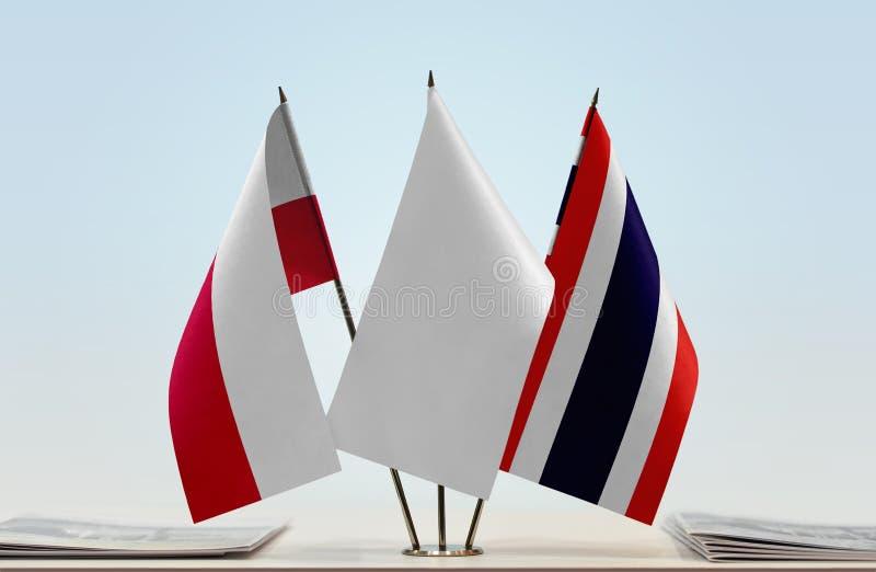 Flaga Polska i Tajlandia obraz stock