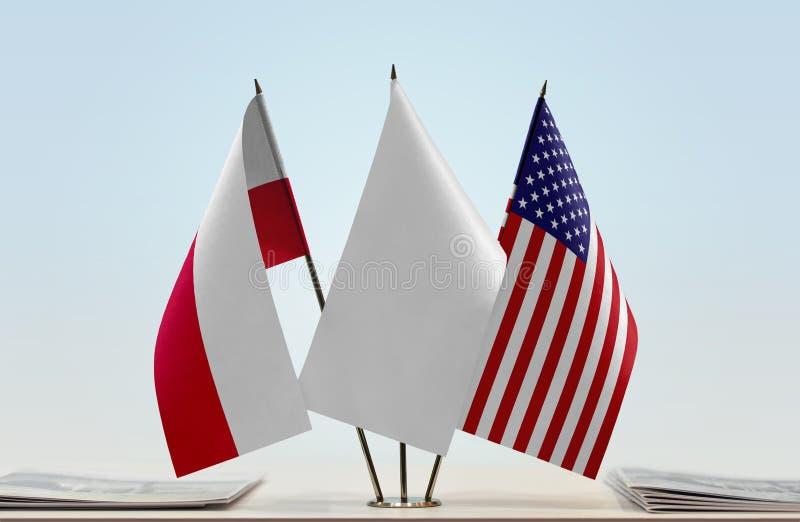 Flaga Polska i usa zdjęcia stock
