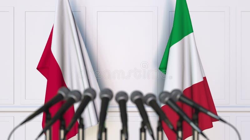 Flaga Polska i Włochy przy międzynarodowym spotkaniem lub konferencją świadczenia 3 d zdjęcia stock