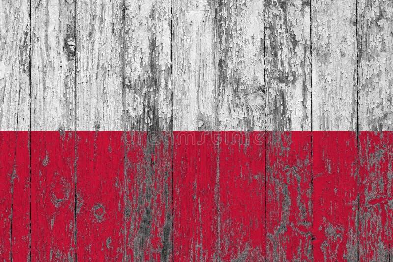 Flaga Polska malował na przetartym za drewnianym tekstury tle obraz stock