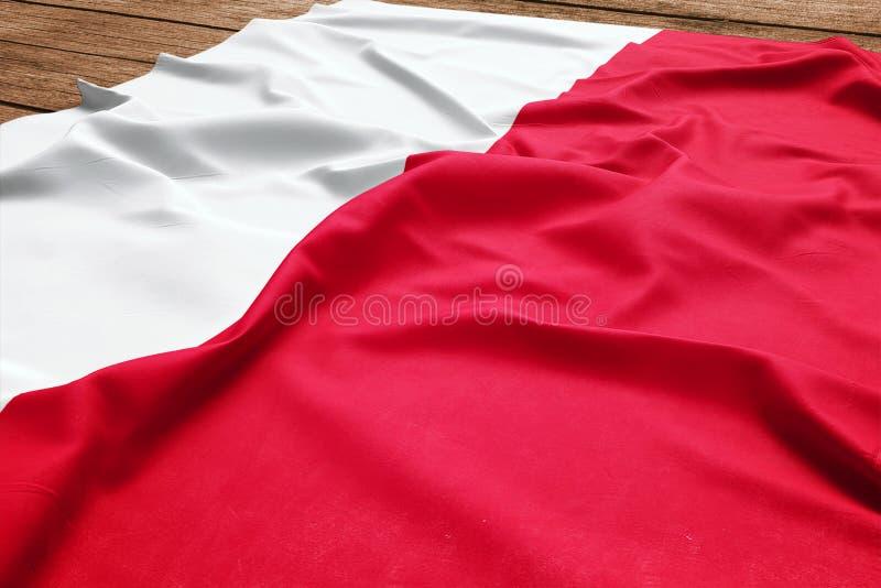 Flaga Polska na drewnianym biurka tle Jedwabiu po?ysku flagi odg?rny widok zdjęcia royalty free