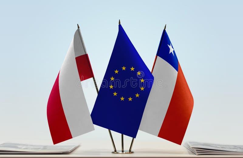 Flaga Polska UE i Chile zdjęcia royalty free