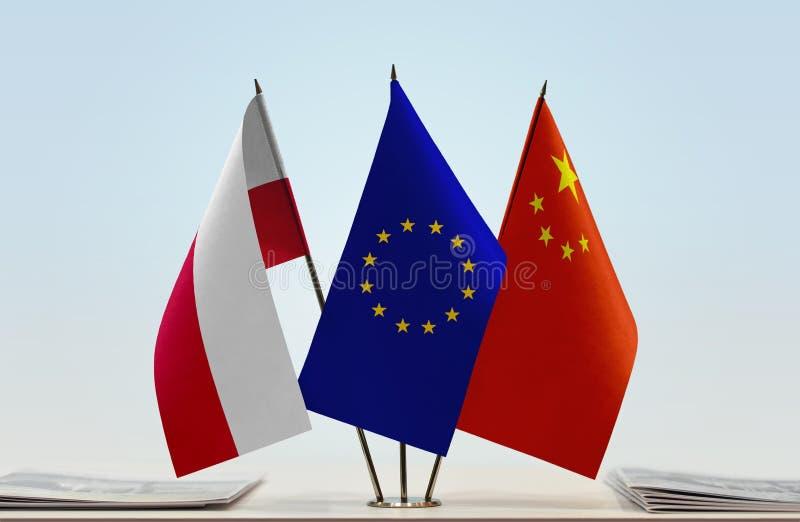 Flaga Polska UE i Chiny fotografia stock
