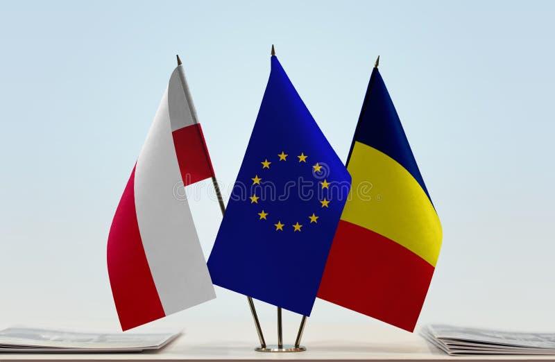 Flaga Polska UE i Czad zdjęcie royalty free