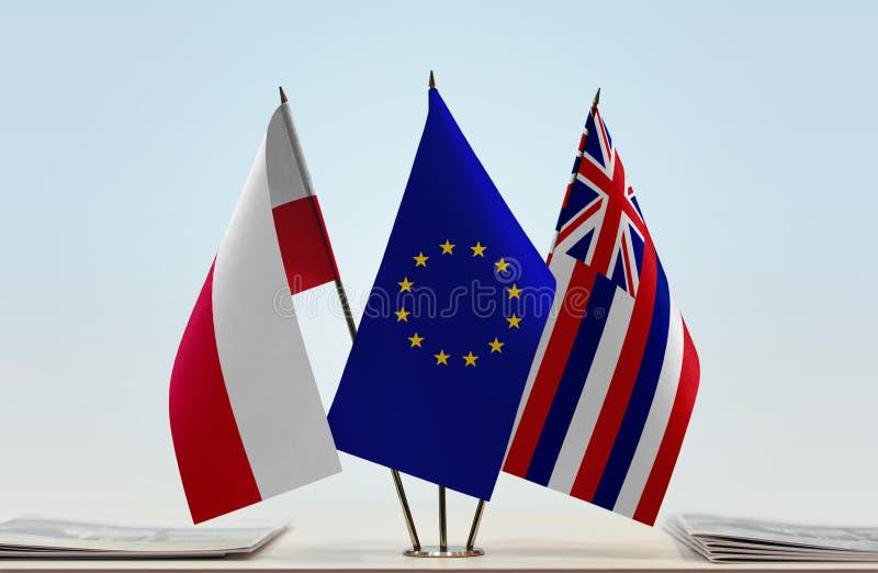 Flaga Polska UE i Hawaje obrazy royalty free