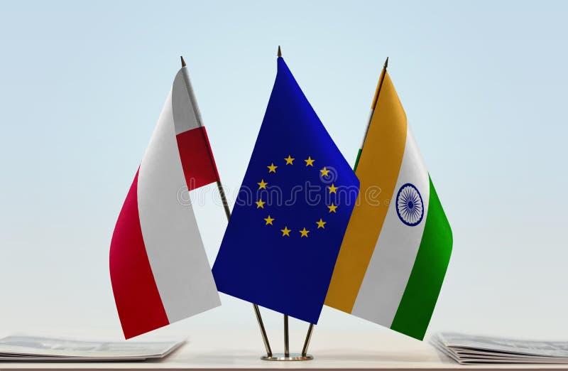 Flaga Polska UE i India fotografia stock