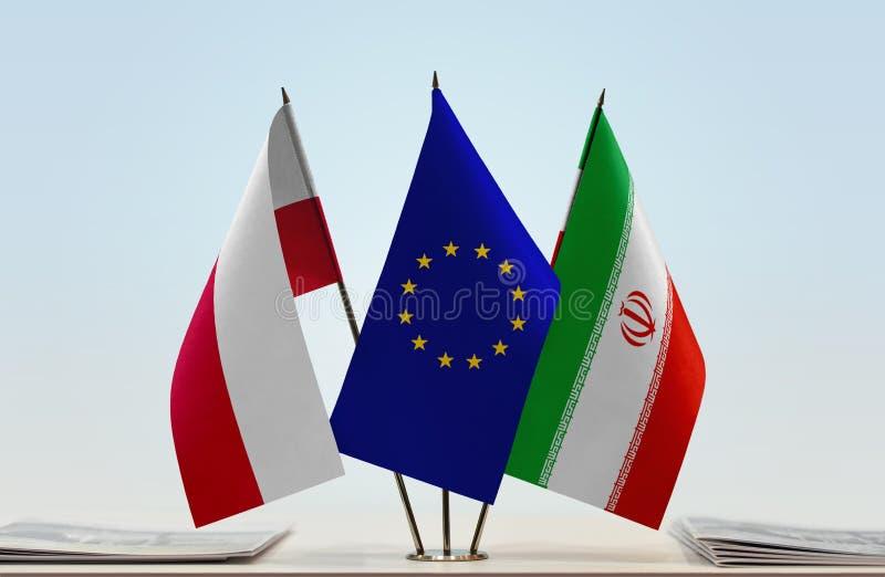 Flaga Polska UE i Iran zdjęcia royalty free