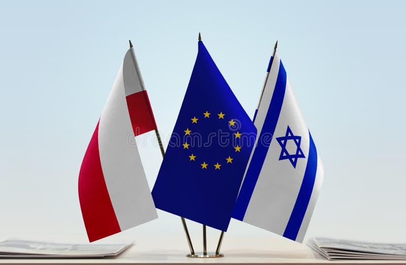 Flaga Polska UE i Izrael fotografia stock