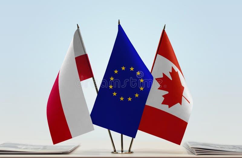 Flaga Polska UE i Kanada obrazy stock