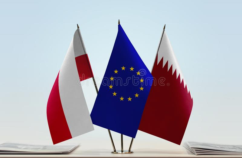 Flaga Polska UE i Katar obrazy stock