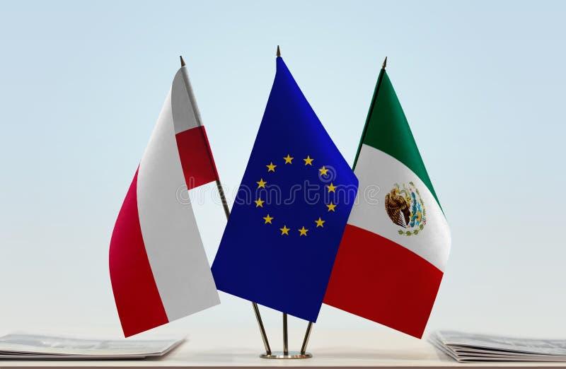 Flaga Polska UE i Meksyk obraz royalty free