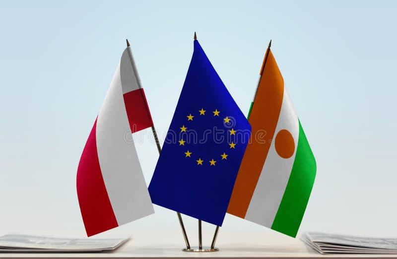 Flaga Polska UE i Niger obraz stock