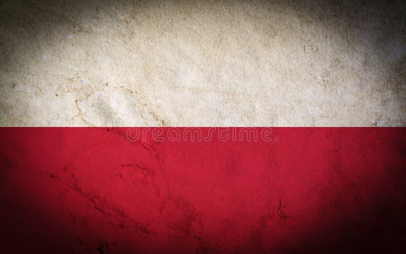 Flaga Polska z starym brudnym grunge rocznika tekstury tłem ilustracji