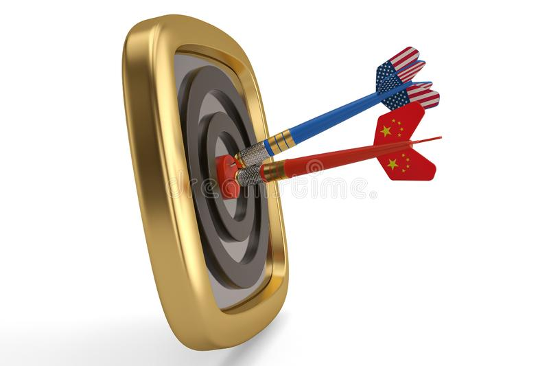 Flaga porcelana i usa na strzałkach uderza bullseye targ royalty ilustracja