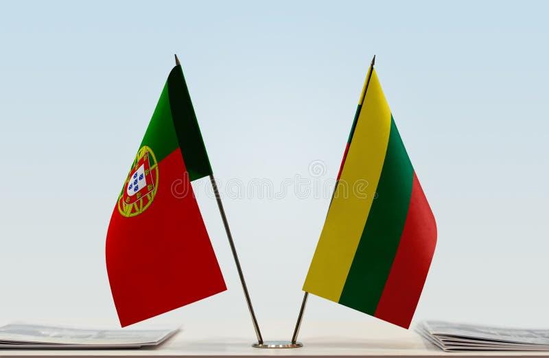 Flaga Portugalia i Lithuania fotografia stock