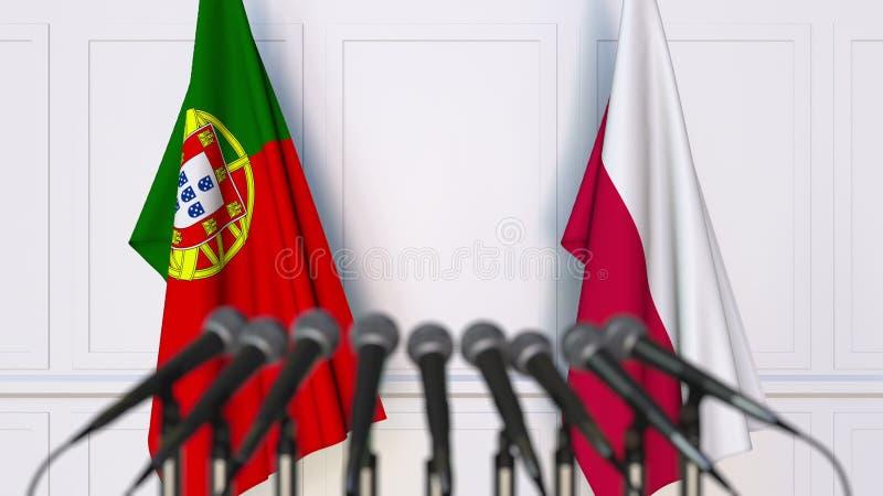 Flaga Portugalia i Polska przy międzynarodowym spotkaniem lub konferencją świadczenia 3 d obrazy royalty free