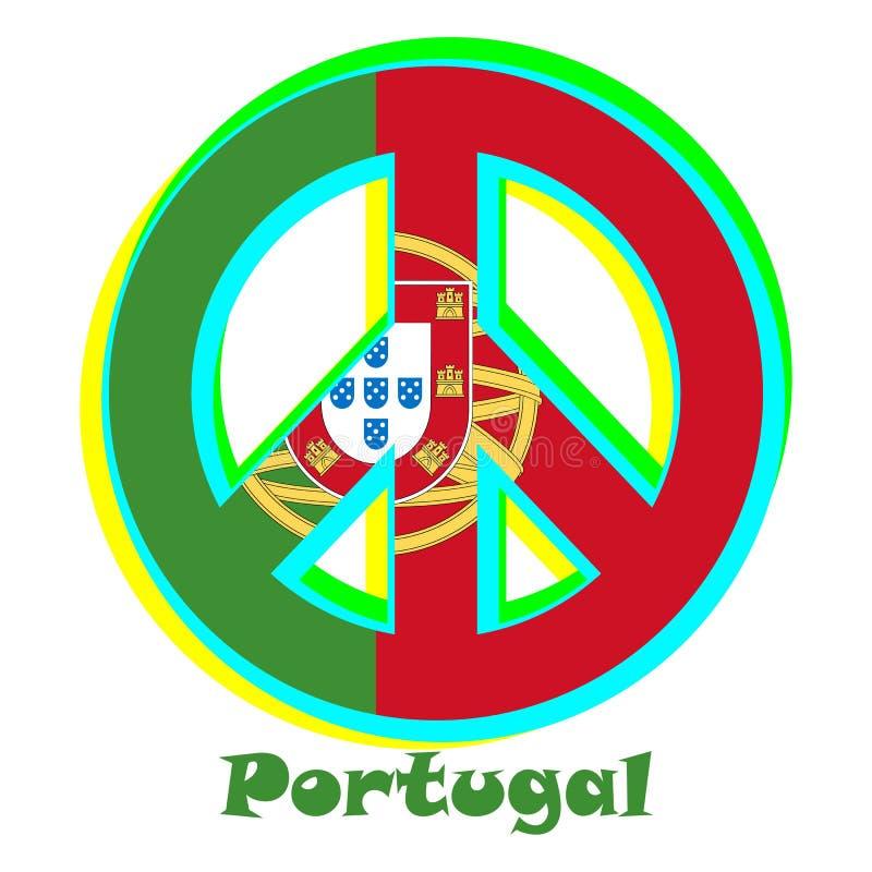 Flaga Portugalia jako znak pacyfizm ilustracja wektor