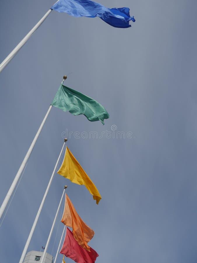 Flaga różni kolory na flagpoles zdjęcia stock