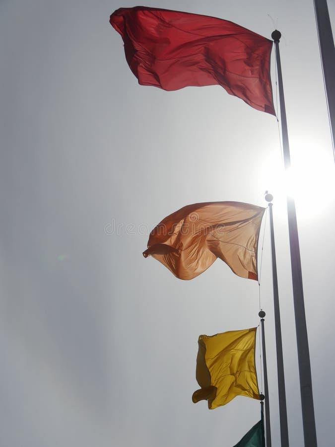 Flaga różni kolory na flagpoles fotografia stock