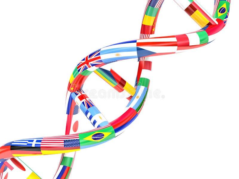 Flaga różni kraje w postaci DNA royalty ilustracja