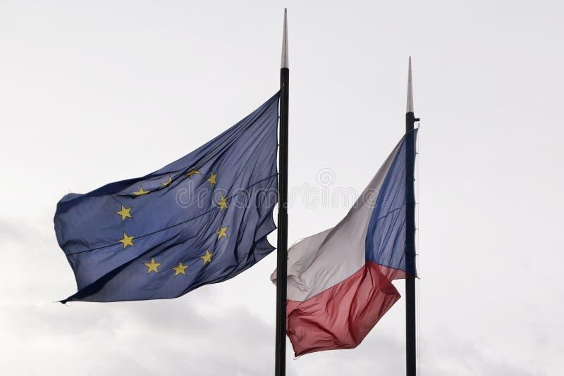 Flaga republika czech i Europejski zjednoczenie obraz stock