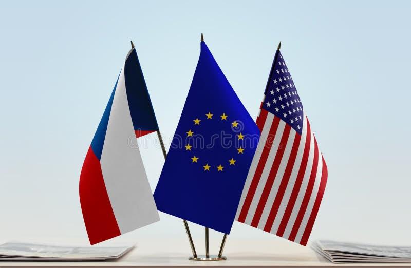 Flaga republika czech UE i usa zdjęcie royalty free