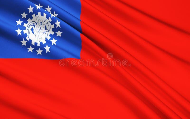 Flaga republika zjednoczenie Myanmar, Birma - ilustracji