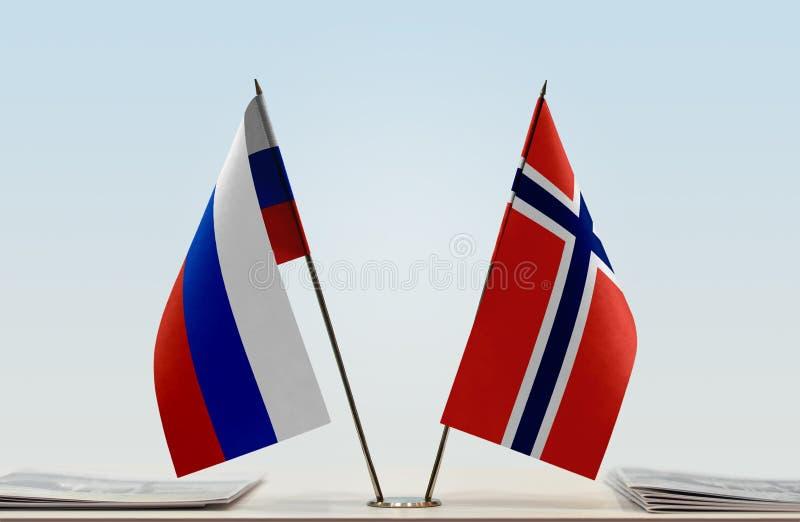Flaga Rosja i Norwegia zdjęcia stock