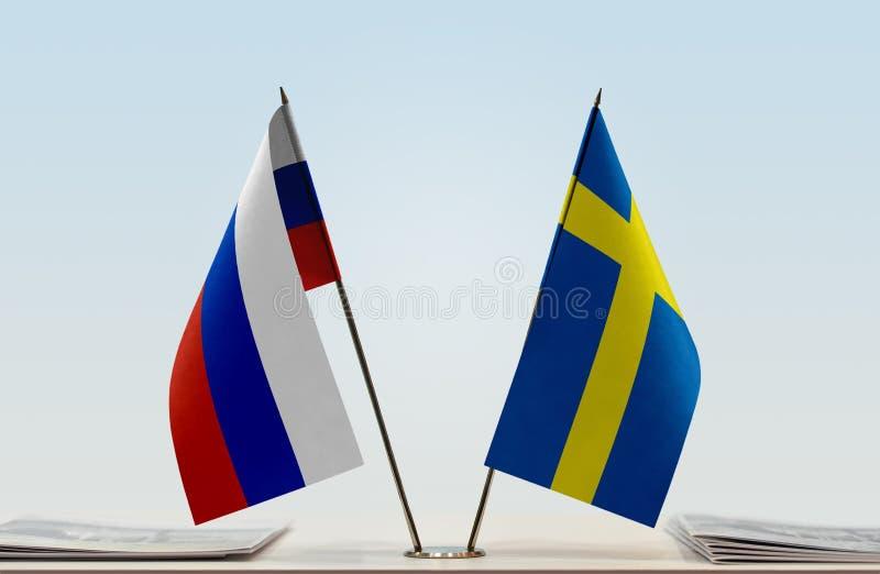 Flaga Rosja i Szwecja zdjęcia stock