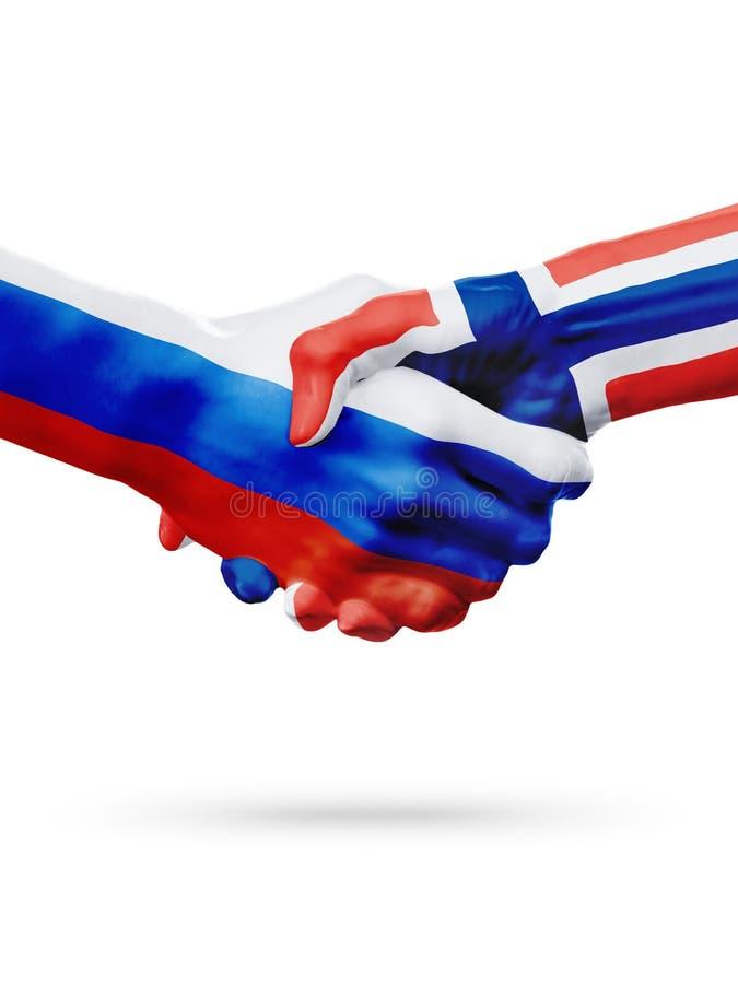Flaga Rosja, Norwegia kraje, partnerstwo przyjaźni uścisku dłoni pojęcie obrazy royalty free