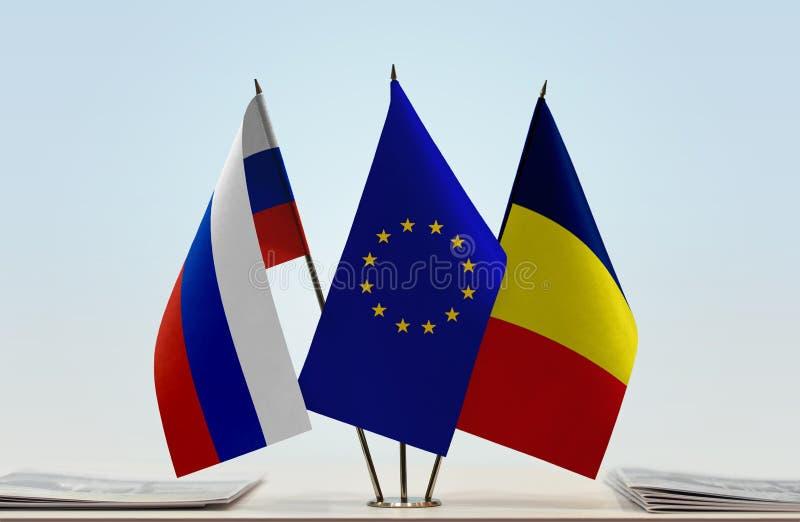 Flaga Rosja UE i Czad zdjęcie stock