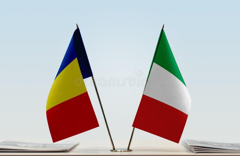 Flaga Rumunia i Włochy obrazy stock