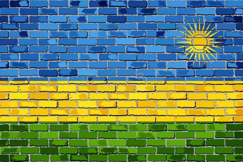 Flaga Rwanda na ściana z cegieł