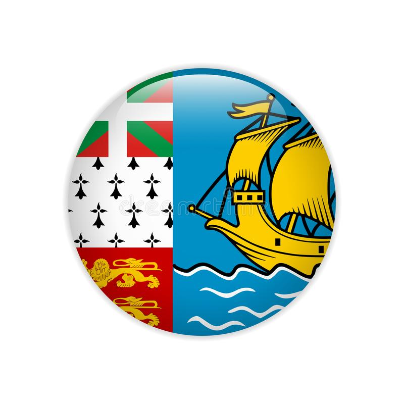 Flaga saint pierre i Miquelon guzik ilustracji