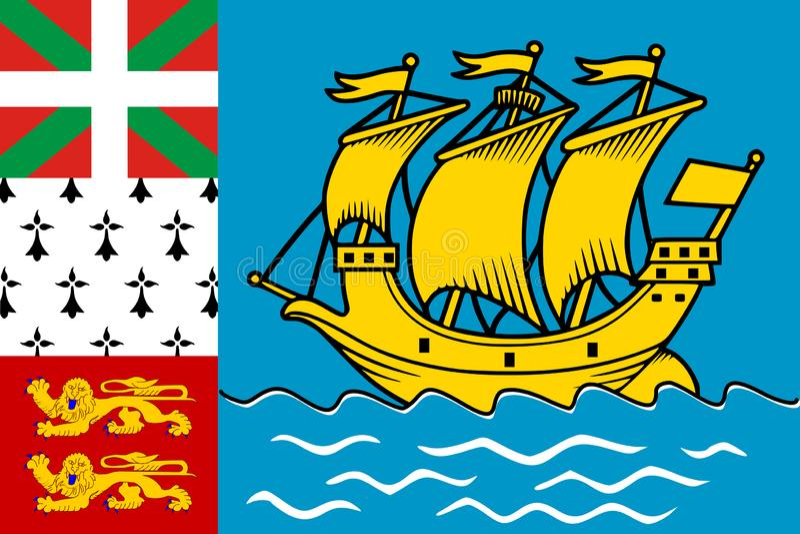 Flaga saint pierre i Miquelon r?wnie? zwr?ci? corel ilustracji wektora ?wiat flaga ilustracji
