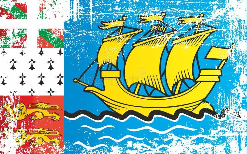 Flaga saint pierre i Miquelon, zamorska kolektywność Francja Marszczący brudni punkty ilustracji