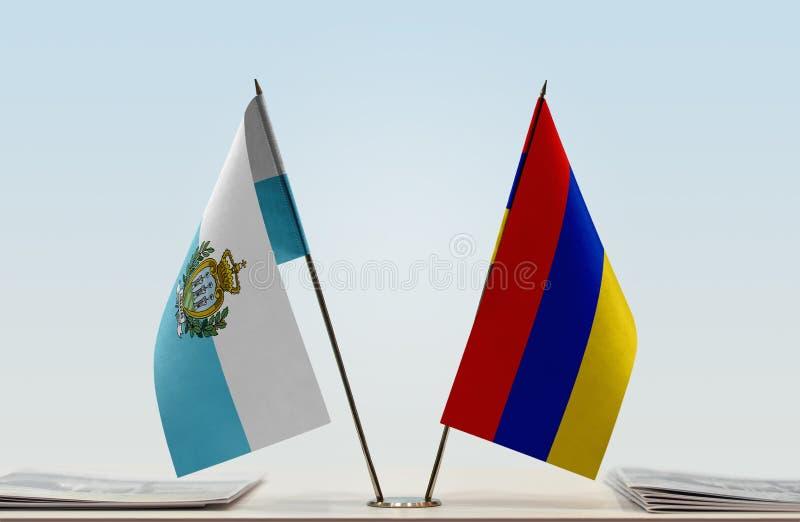 Flaga San Marino i Armenia fotografia stock