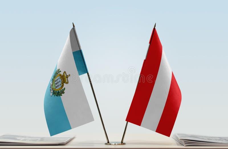 Flaga San Marino i Austria zdjęcia stock